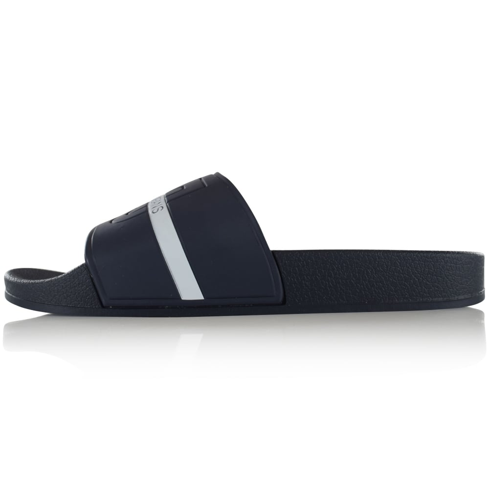 exquisite style order online look out for VERSACE JEANS Versace Jeans Navy/White Text Stripe Sliders - Men ...