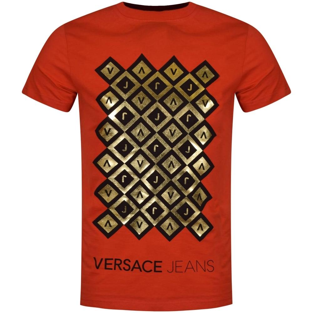 red versace shirt