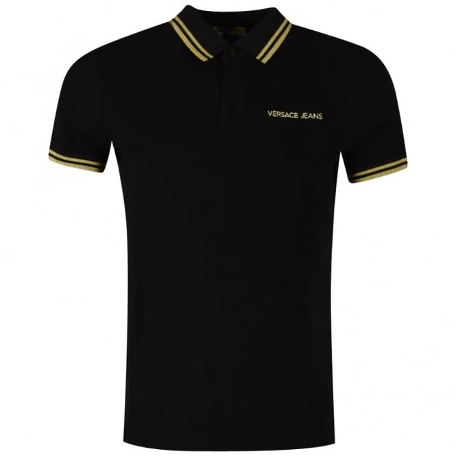 versace jeans versace jeans black and gold logo polo shirt