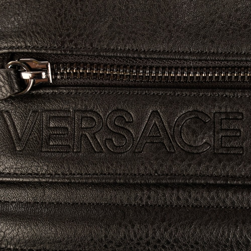 c340f2f237e0 VERSACE ACCESSORIES Versace Jeans Black Creased Leather Padded ...