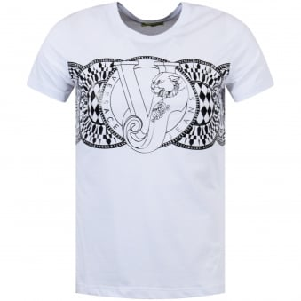 Versace Jeans White/Black Centre Logo T-Shirt