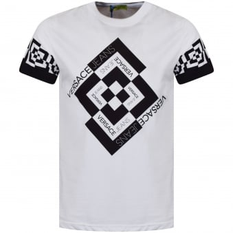 Versace Jeans White/Black Diamond Check Logo T-Shirt
