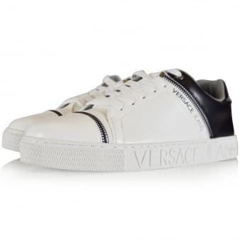 Versace Jeans White/Black Leather Logo Trainers