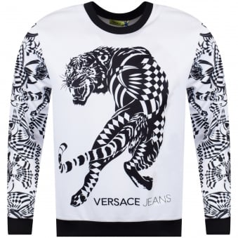 Versace Jeans White/Black Neoprene Tiger Sweatshirt