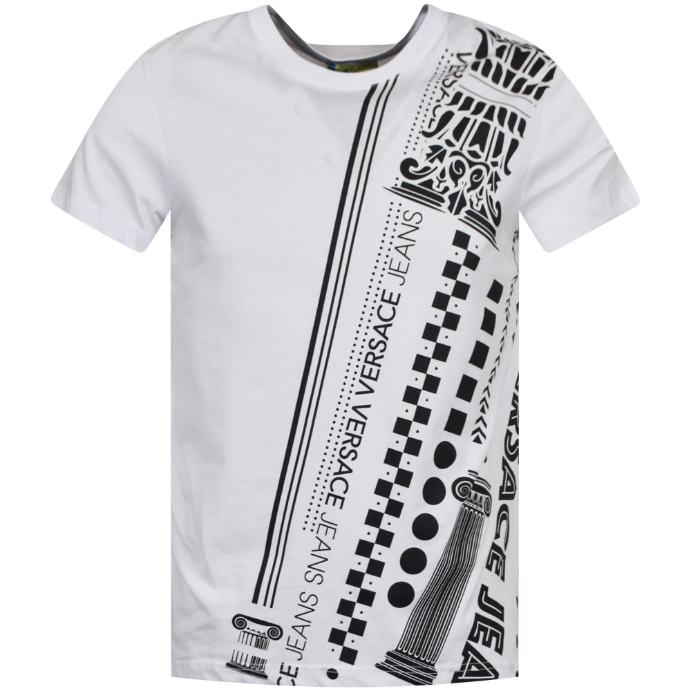 3faabb0e VERSACE JEANS COUTURE Versace Jeans White/Black Studded Print T ...