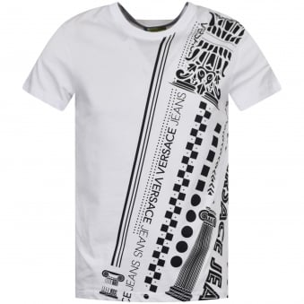 Versace Jeans White/Black Studded Print T-Shirt