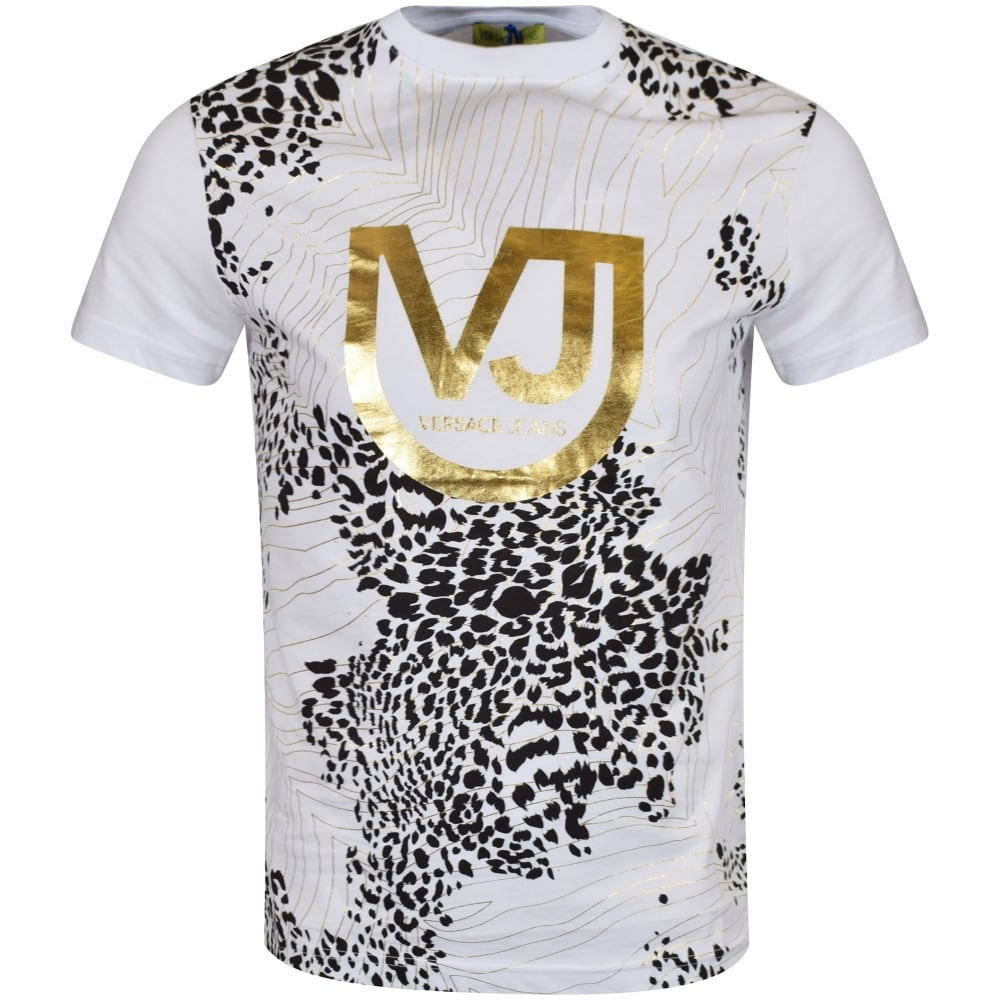 versace jeans versace jeans white gold design t shirt men from brother2brother uk. Black Bedroom Furniture Sets. Home Design Ideas