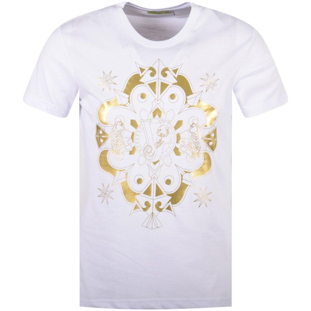 338c5f59d VERSACE JEANS COUTURE Versace Jeans White/Gold Foil Print Logo T ...