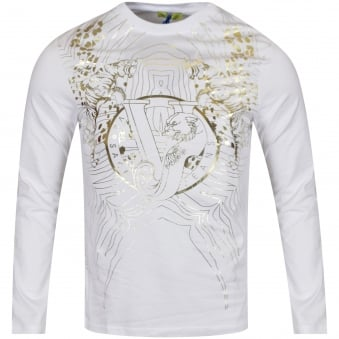 Versace Jeans White/Gold Pattern LS T-Shirt