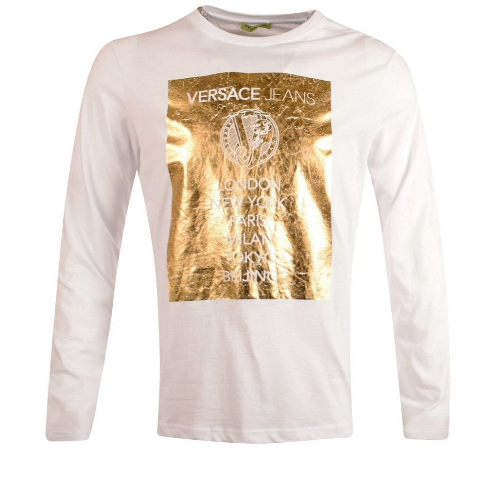 f4f045ff VERSACE JEANS COUTURE Versace Jeans White & Gold Print Longsleeve T ...