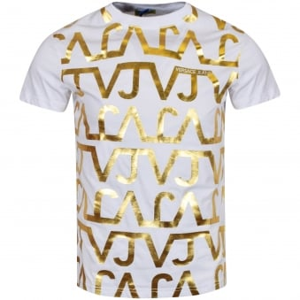 Versace Jeans White/Gold Print T-Shirt