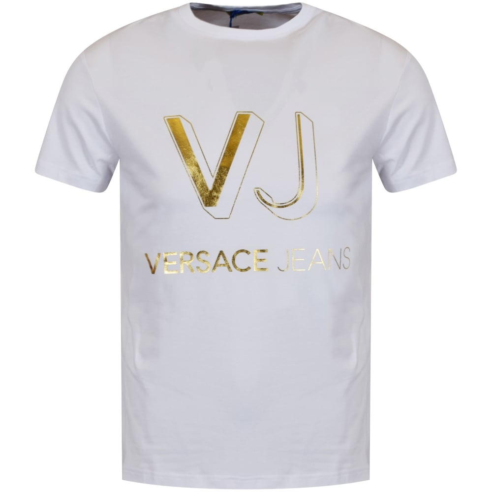 versace jeans versace jeans white amp gold printed logo t
