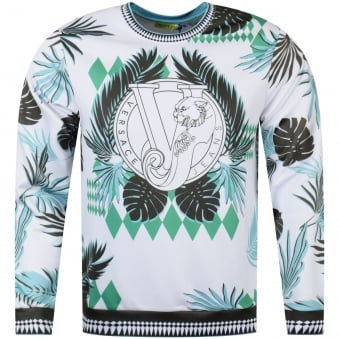 Versace Jeans White/Green Neoprene Optical Sweatshirt
