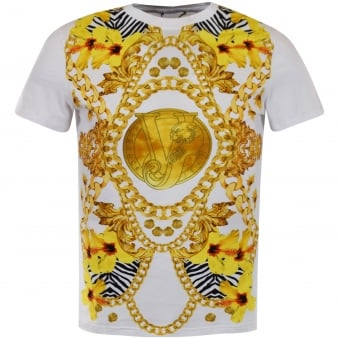 Versace Jeans White Large Print T-Shirt