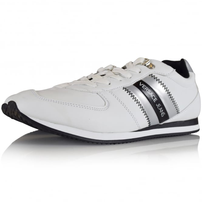 VERSACE JEANS White Patent Stripe Logo Trainers