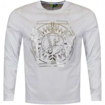 Versace Jeans White/Silver Large Logo Long Sleeve T-Shirt