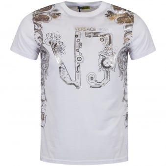 Versace Jeans White/Silver Large Logo T-Shirt