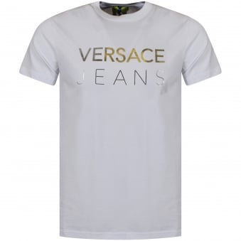 Versace Jeans White/Silver Large Text Logo T-Shirt