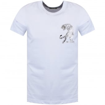 Versace Jeans White/Silver Tiger Chest Logo T-Shirt
