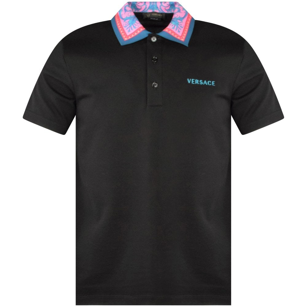 black Versace polo shirt with accent colourful collar