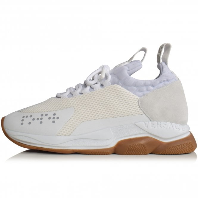 VERSACE White/Gum Cross Chainer Trainers Side