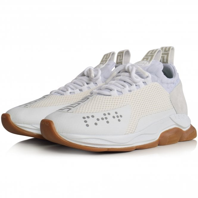 VERSACE White/Gum Cross Chainer Trainers Front