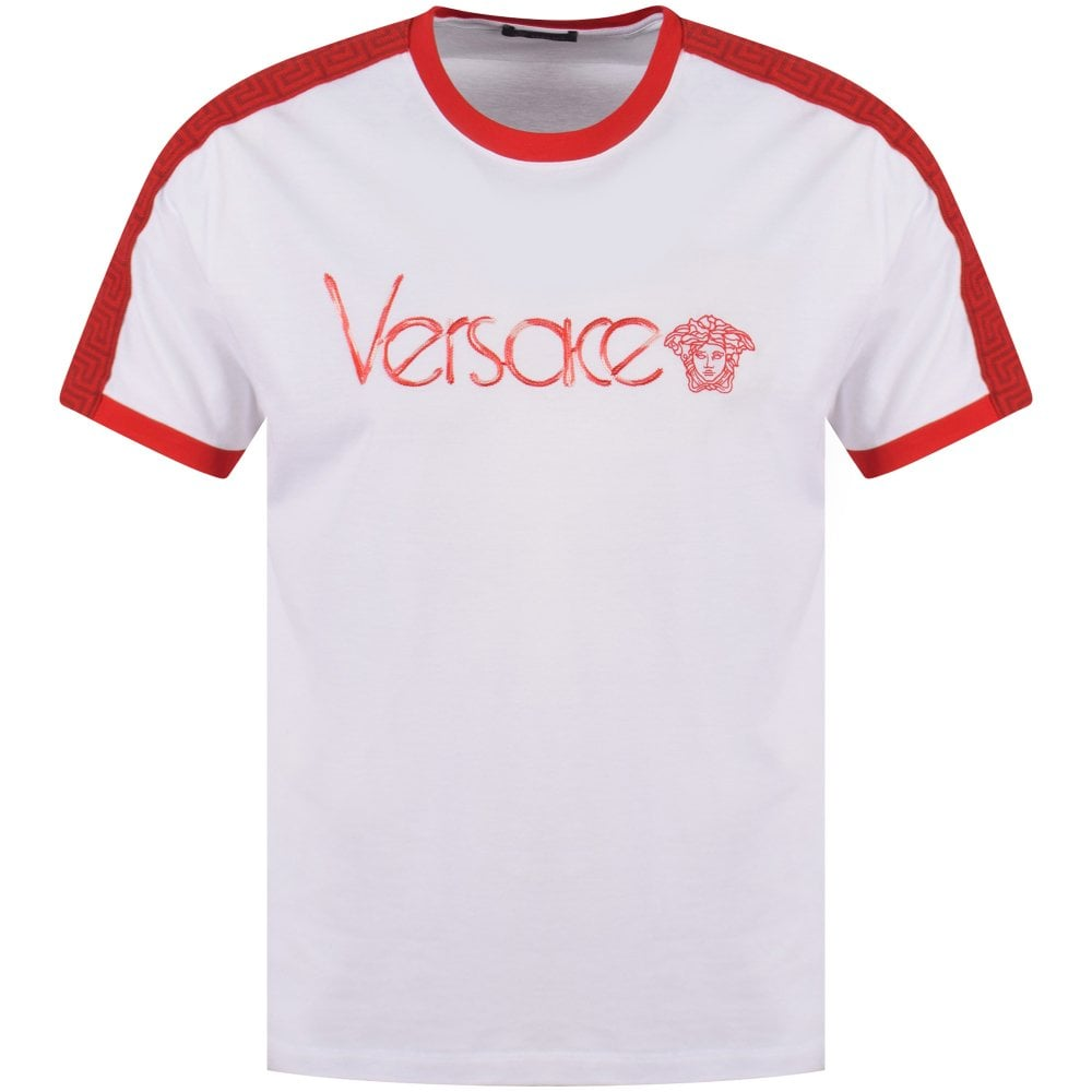 Versace Whitered Embroidered Logo T Shirt Men From Brother2brother Uk