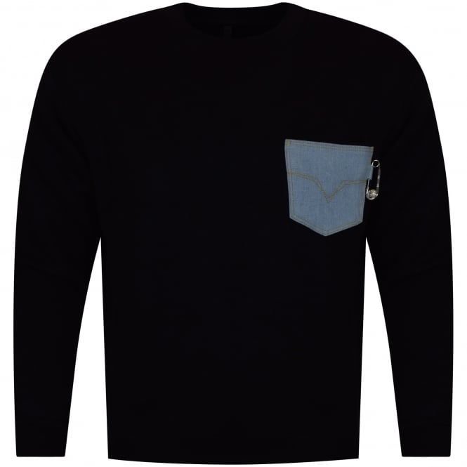 VERSUS VERSACE Black Denim Pocket Sweatshirt