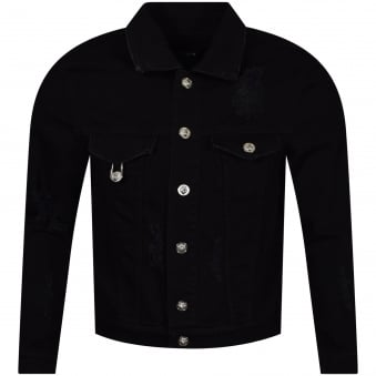 Versus Versace Black Distressed Denim Jacket