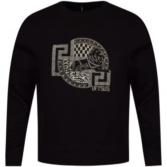 Versus Versace Black Embroidered Logo Sweatshirt