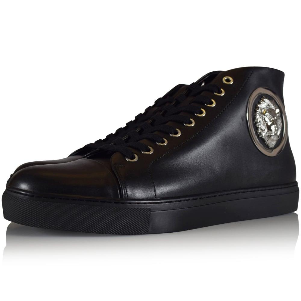 28d9de27a596 VERSUS VERSACE Versus Versace Black Leather Lion Logo Hi Top ...