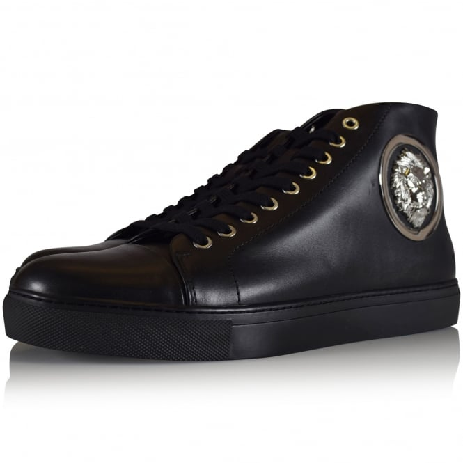 VERSUS VERSACE Black Leather Lion Logo Hi Top Trainers