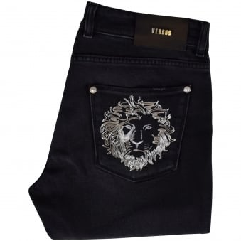 Versus Versace Black Lion Pocket Diatressed Skinny Jeans
