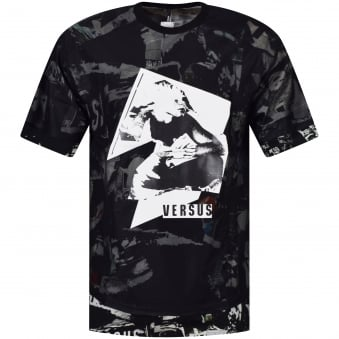 Versus Versace Black Net Trim T-Shirt