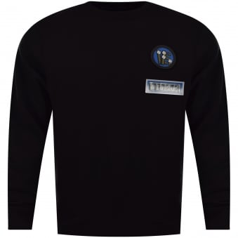 Versus Versace Black Oversized Velcro Patch Sweatshirt
