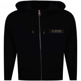 Versus Versace Black Velcro Patch Logo Zip Up Hoodie