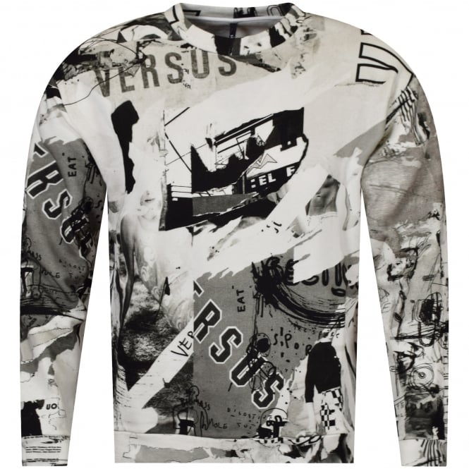 VERSUS VERSACE Black/White All Over Print Sweatshirt