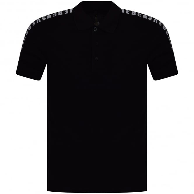 VERSUS VERSACE Black/White Side Text Polo Shirt