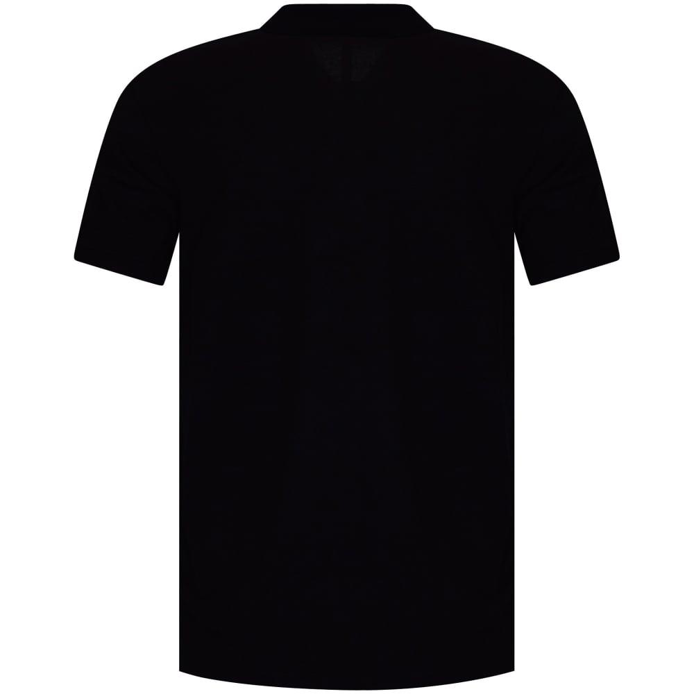 VERSUS VERSACE Versus Versace Black White Side Text Polo Shirt - Men ... c0f208e72831