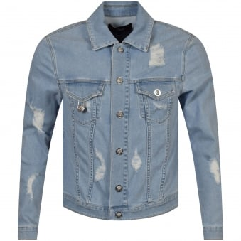 Versus Versace Blue Safety Pin Denim Jacket