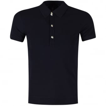 Versus Versace Navy Lion Button Up Polo Shirt