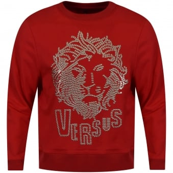 Versus Versace Red Studded Lion Sweatshirt