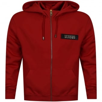 Versus Versace Red Velcro Patch Logo Zip Up Hoodie