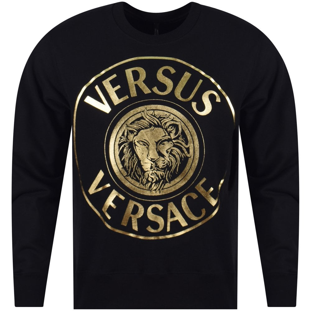 0aa9c10e VERSUS VERSACE Versace Versus Black/Gold Lion Print Sweatshirt