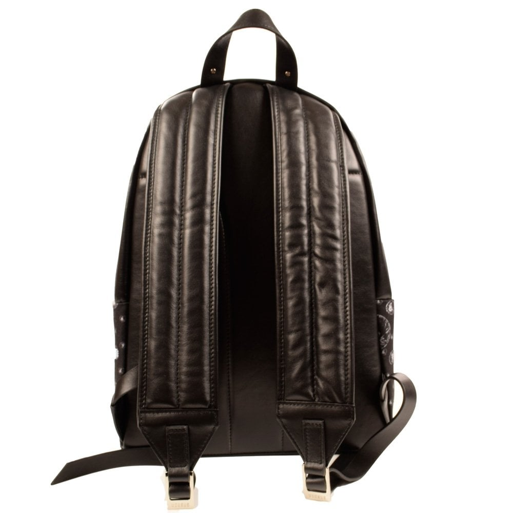Versace Accessories Versus Versace Black Canvas Leather All Over Lion Head Print Backpack