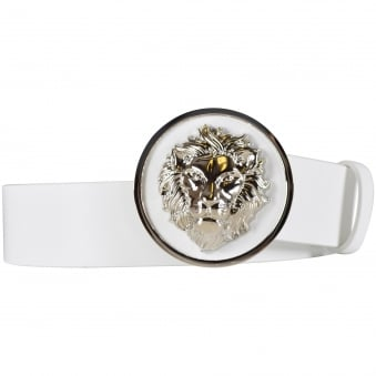 Versus Versace White Circle Lion Logo Belt