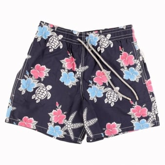 Vilebrequin Moorea Navy and Pink Floral Swim Short