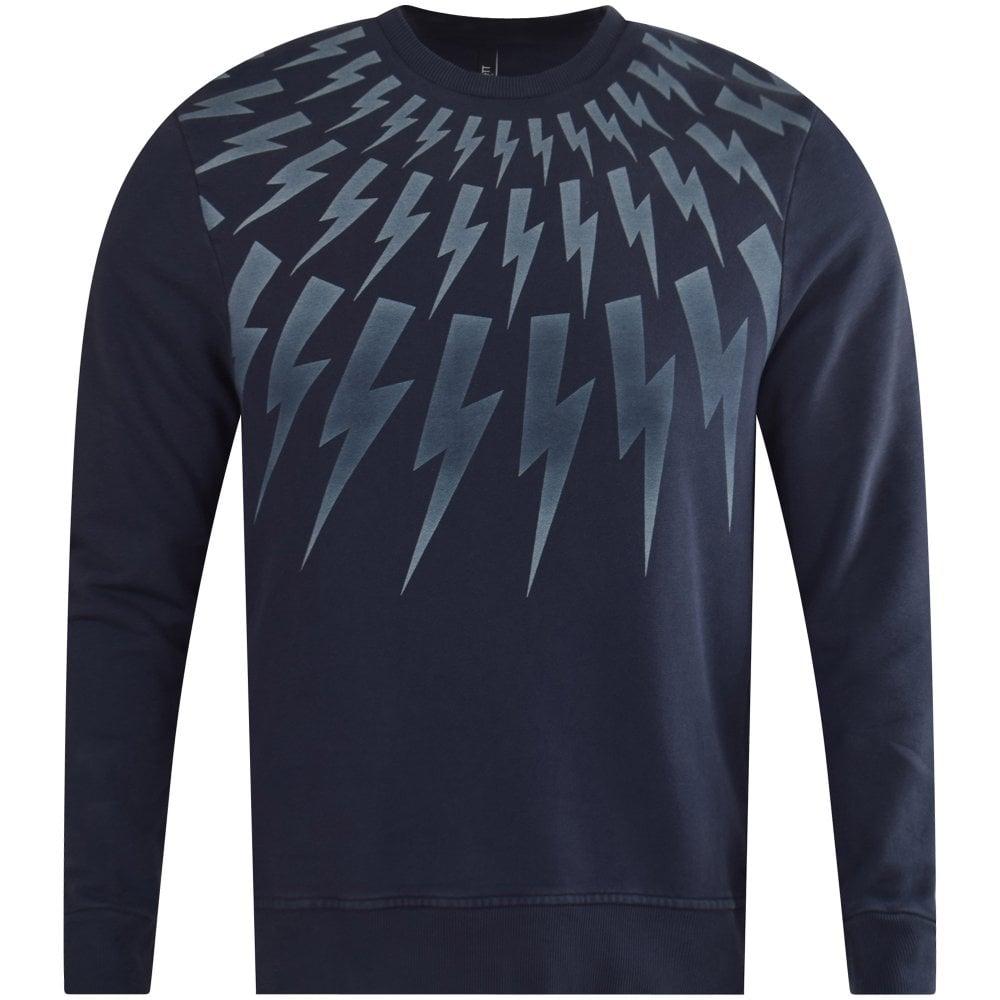 164acebbf20 NEIL BARRETT Vintage Navy Lighting Bolt Sweatshirt - Men from ...