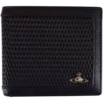 Vivienne Westwood Accessories Black Leather Diamond Panel Wallet