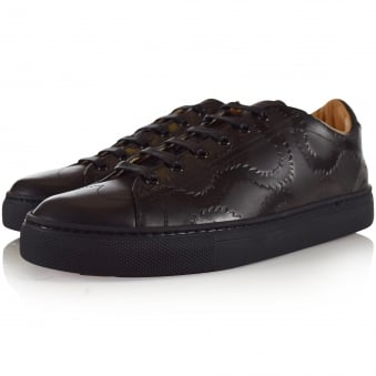 Vivienne Westwood Accessories Black Leather Pattern Trainers